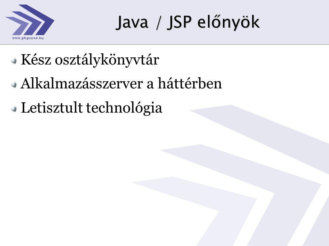 Java / JSP előnyök Kész osztálykönyvtár Alkalmazásszerver a háttérben Letisztult technológia