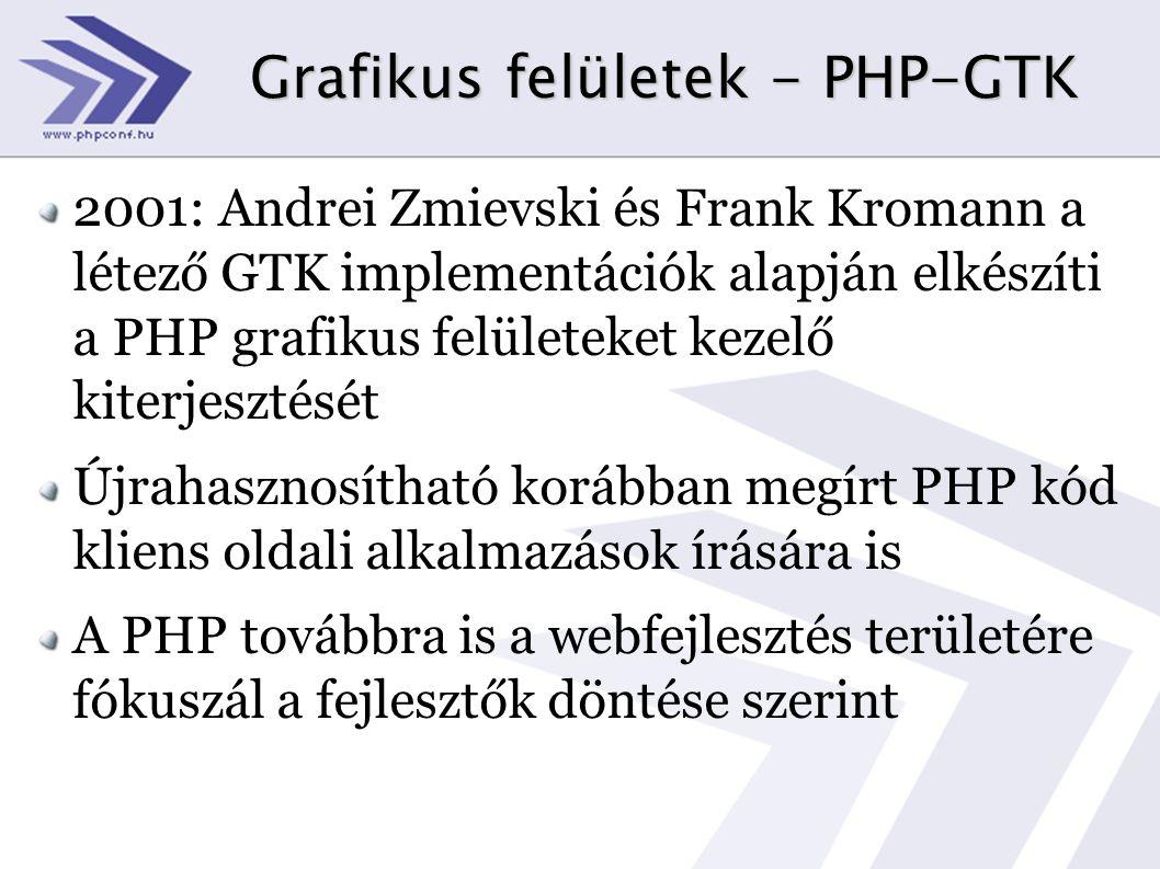 Grafikus felületek - PHP-GTK 2001: Andrei Zmievski és Frank Kromann a létező GTK implementációk alapján elkészíti a PHP grafikus felületeket kezelő kiterjesztését Újrahasznosítható korábban megírt PHP kód kliens oldali alkalmazások írására is A PHP továbbra is a webfejlesztés területére fókuszál a fejlesztők döntése szerint