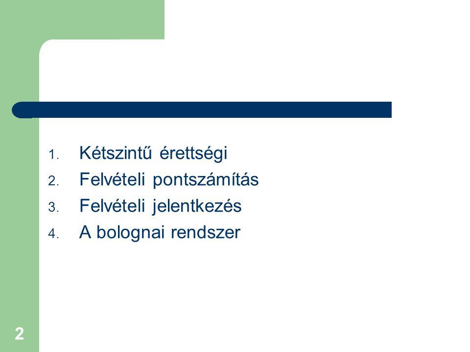 2 1. Kétszintű érettségi 2. Felvételi pontszámítás 3. Felvételi jelentkezés 4. A bolognai rendszer