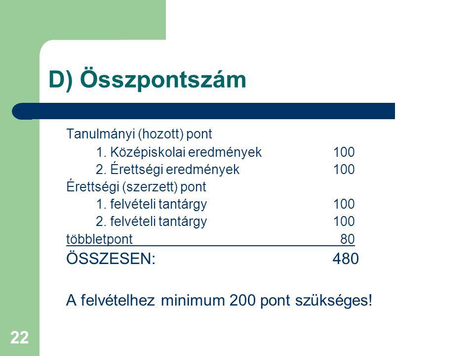 22 D) Összpontszám Tanulmányi (hozott) pont 1. Középiskolai eredmények 100 2.