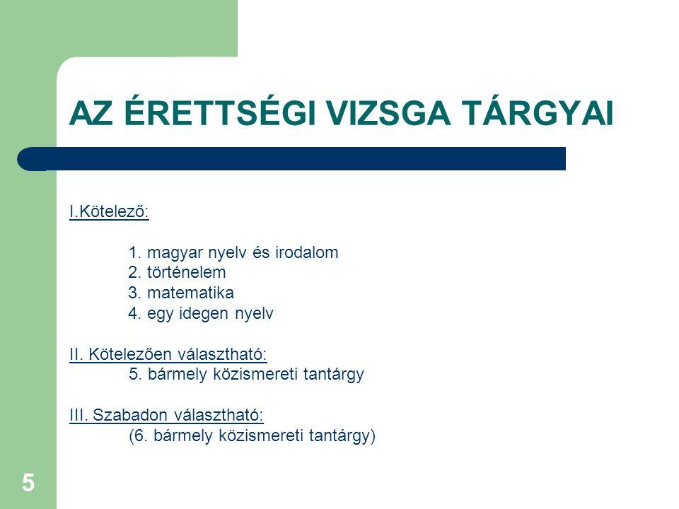 5 AZ ÉRETTSÉGI VIZSGA TÁRGYAI I.Kötelező: 1. magyar nyelv és irodalom 2.