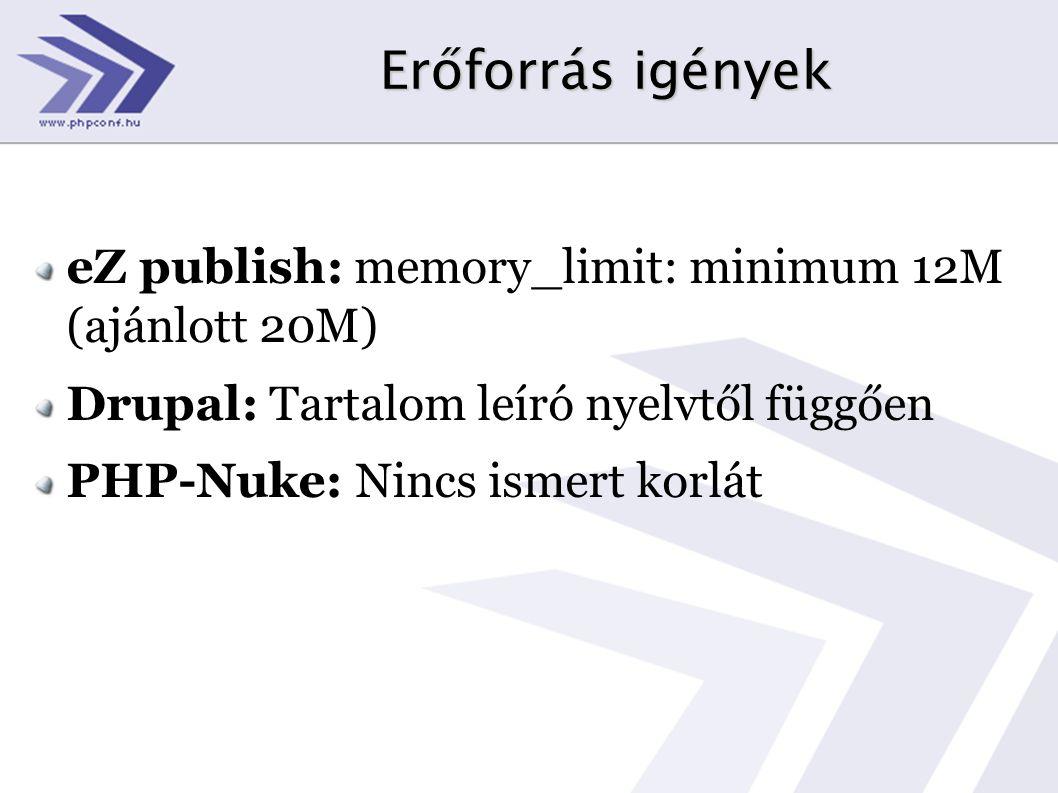 Erőforrás igények eZ publish: memory_limit: minimum 12M (ajánlott 20M) Drupal: Tartalom leíró nyelvtől függően PHP-Nuke: Nincs ismert korlát