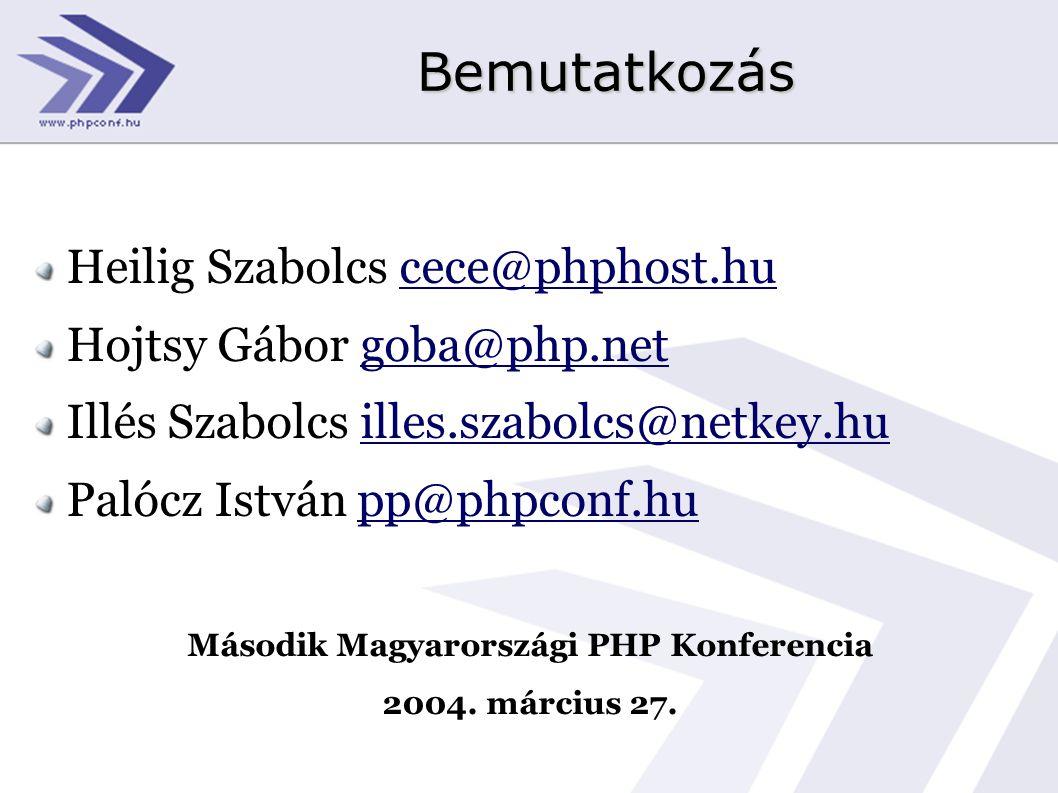 Bemutatkozás Heilig Szabolcs cece@phphost.hu Hojtsy Gábor goba@php.net Illés Szabolcs illes.szabolcs@netkey.hu Palócz István pp@phpconf.hu Második Mag