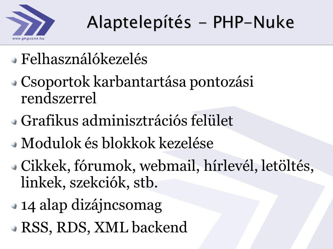 Alaptelepítés - PHP-Nuke Felhasználókezelés Csoportok karbantartása pontozási rendszerrel Grafikus adminisztrációs felület Modulok és blokkok kezelése