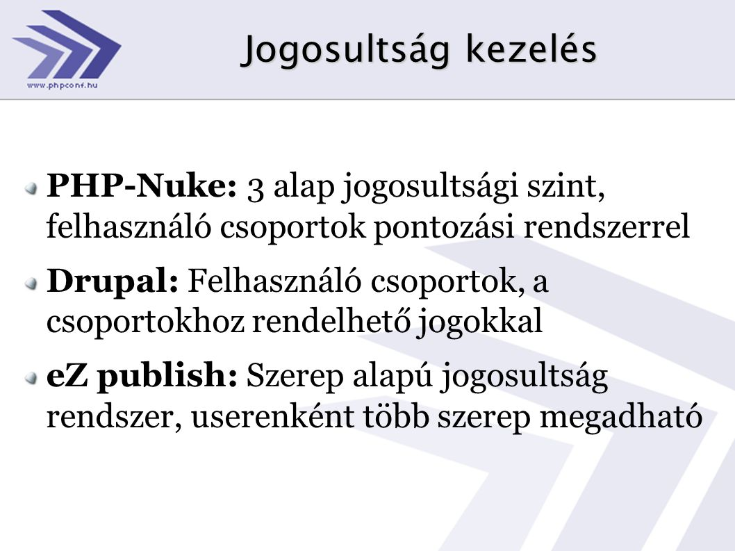 Jogosultság kezelés PHP-Nuke: 3 alap jogosultsági szint, felhasználó csoportok pontozási rendszerrel Drupal: Felhasználó csoportok, a csoportokhoz ren