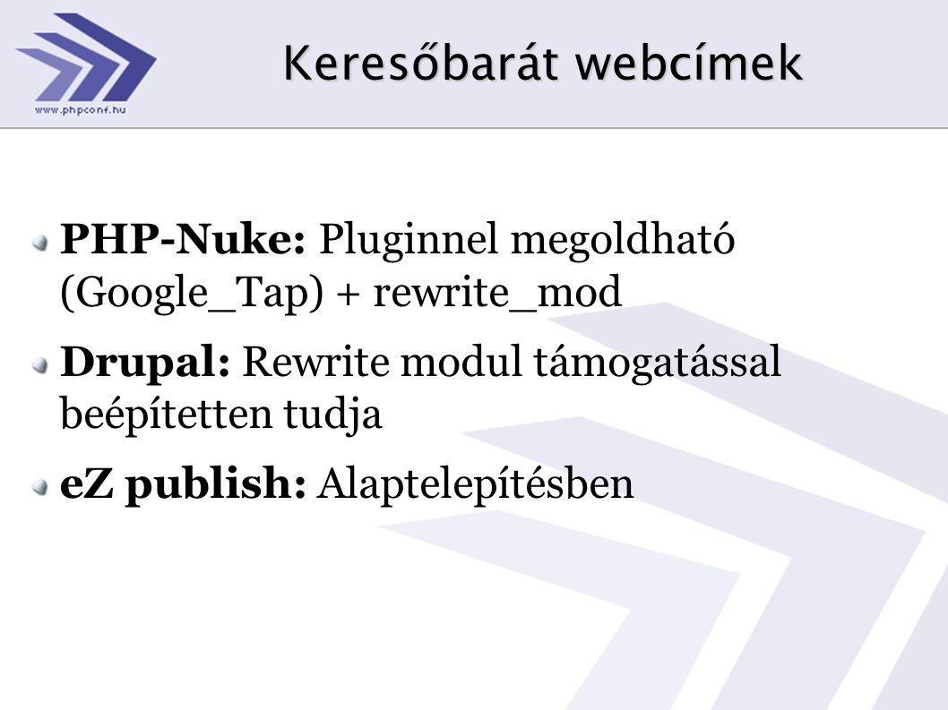 Keresőbarát webcímek PHP-Nuke: Pluginnel megoldható (Google_Tap) + rewrite_mod Drupal: Rewrite modul támogatással beépítetten tudja eZ publish: Alapte