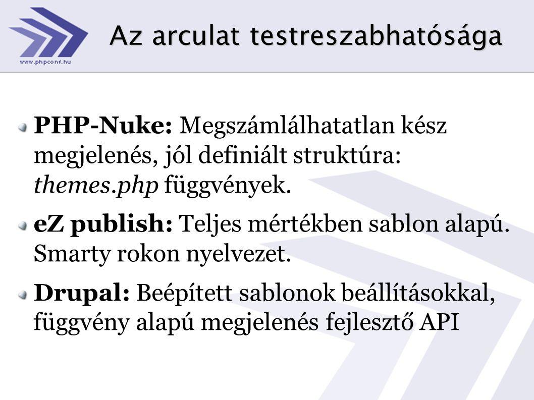 Az arculat testreszabhatósága PHP-Nuke: Megszámlálhatatlan kész megjelenés, jól definiált struktúra: themes.php függvények. eZ publish: Teljes mértékb