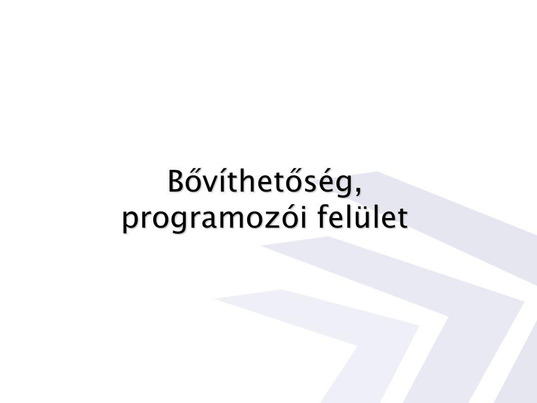 Bővíthetőség, programozói felület
