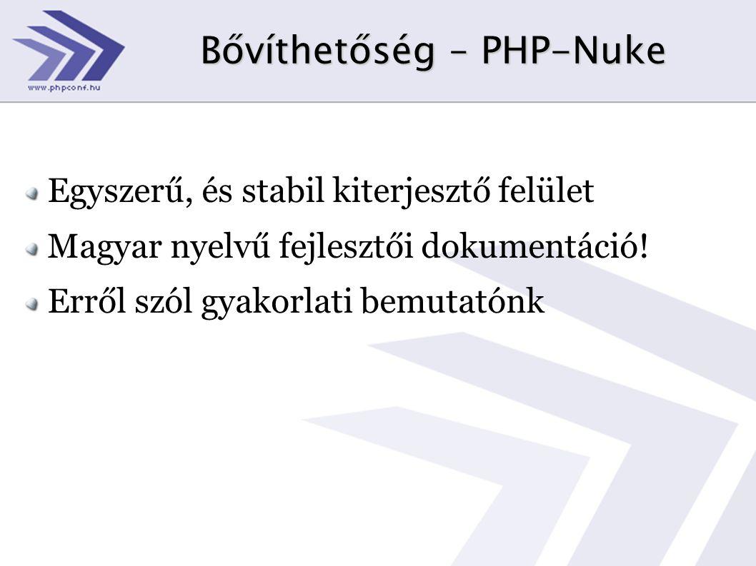 Bővíthetőség – PHP-Nuke Egyszerű, és stabil kiterjesztő felület Magyar nyelvű fejlesztői dokumentáció! Erről szól gyakorlati bemutatónk