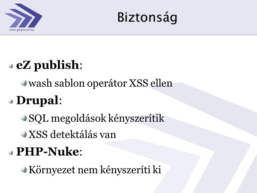 Biztonság eZ publish: wash sablon operátor XSS ellen Drupal: SQL megoldások kényszerítik XSS detektálás van PHP-Nuke: Környezet nem kényszeríti ki