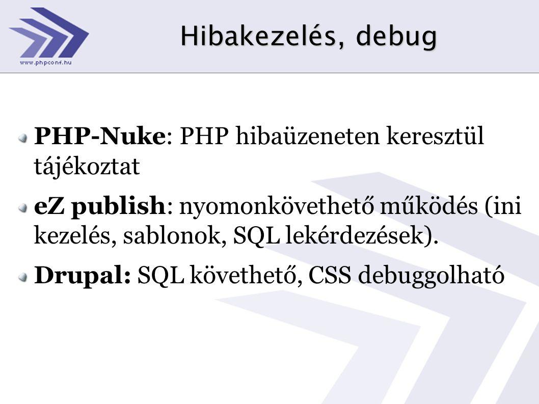 Hibakezelés, debug PHP-Nuke: PHP hibaüzeneten keresztül tájékoztat eZ publish: nyomonkövethető működés (ini kezelés, sablonok, SQL lekérdezések). Drup
