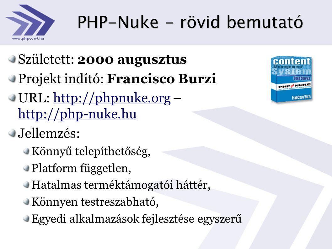 PHP-Nuke - rövid bemutató Született: 2000 augusztus Projekt indító: Francisco Burzi URL: http://phpnuke.org – http://php-nuke.hu Jellemzés: Könnyű tel