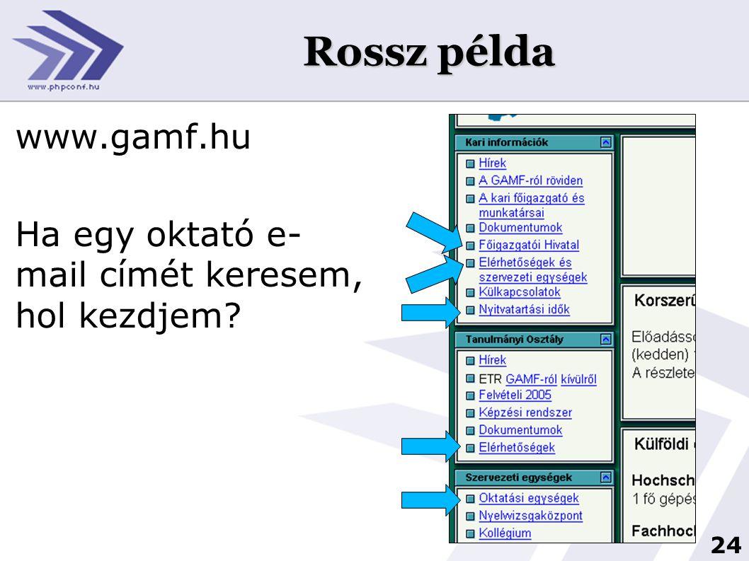 24 Rossz példa www.gamf.hu Ha egy oktató e- mail címét keresem, hol kezdjem?