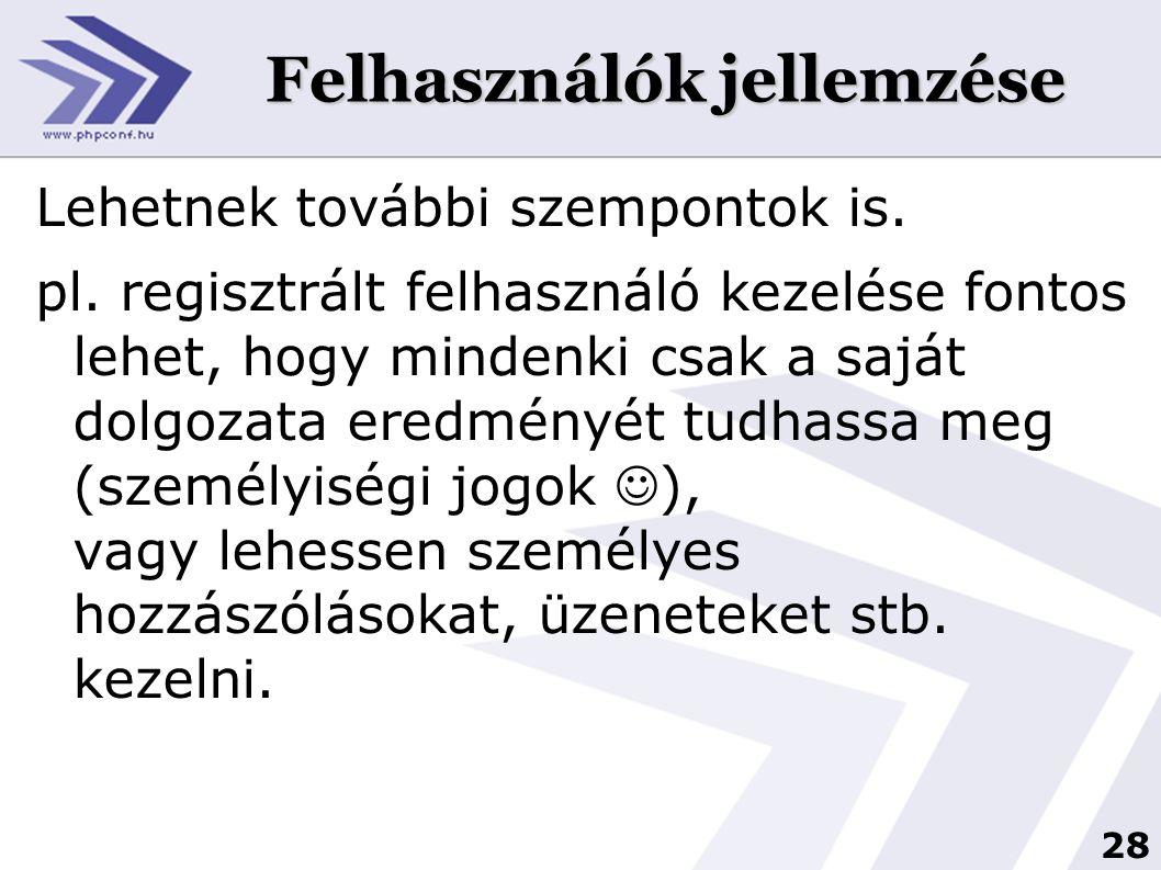 28 Felhasználók jellemzése Lehetnek további szempontok is. pl. regisztrált felhasználó kezelése fontos lehet, hogy mindenki csak a saját dolgozata ere