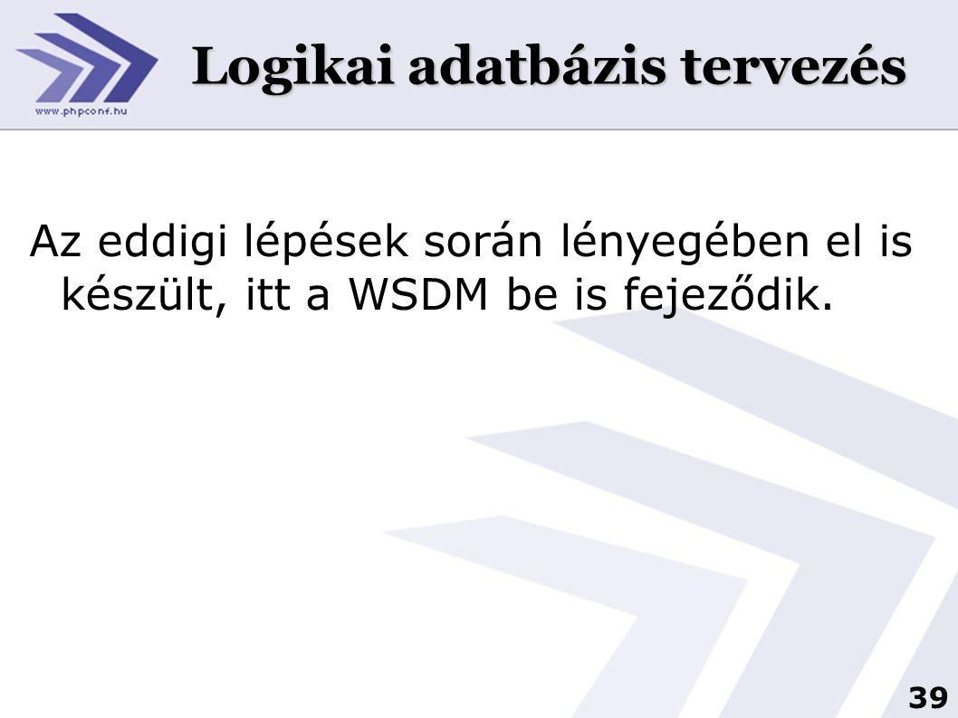 39 Logikai adatbázis tervezés Az eddigi lépések során lényegében el is készült, itt a WSDM be is fejeződik.