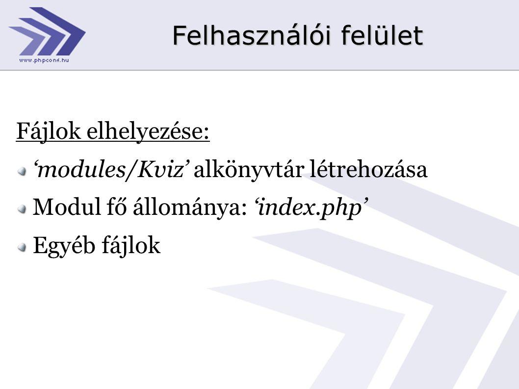 Fájlok elhelyezése: 'modules/Kviz' alkönyvtár létrehozása Modul fő állománya: 'index.php' Egyéb fájlok