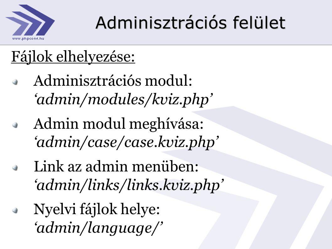 Fájlok elhelyezése: Adminisztrációs modul: 'admin/modules/kviz.php' Admin modul meghívása: 'admin/case/case.kviz.php' Link az admin menüben: 'admin/links/links.kviz.php' Nyelvi fájlok helye: 'admin/language/'