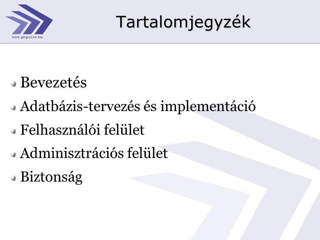 Tartalomjegyzék Bevezetés Adatbázis-tervezés és implementáció Felhasználói felület Adminisztrációs felület Biztonság