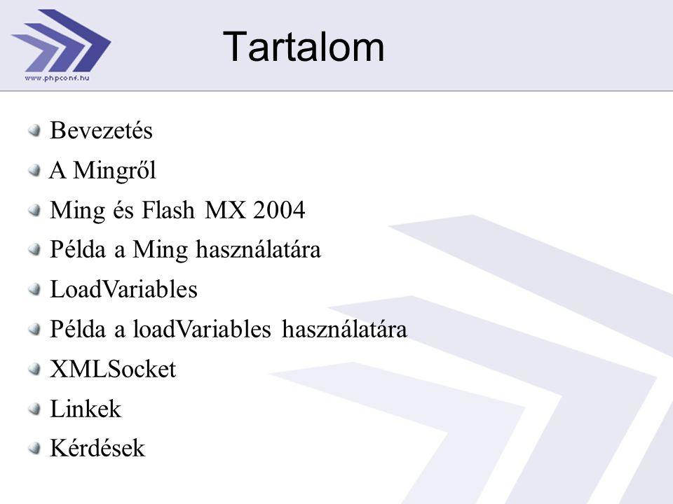 Tartalom Bevezetés A Mingről Ming és Flash MX 2004 Példa a Ming használatára LoadVariables Példa a loadVariables használatára XMLSocket Linkek Kérdések