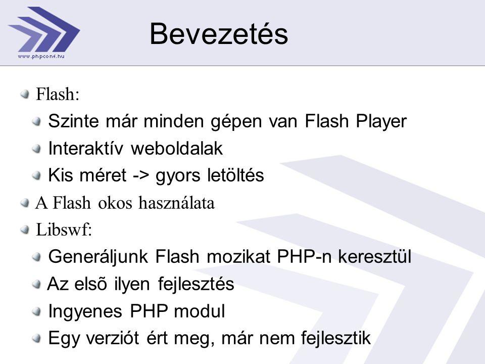 Bevezetés Flash: Szinte már minden gépen van Flash Player Interaktív weboldalak Kis méret -> gyors letöltés A Flash okos használata Libswf: Generáljunk Flash mozikat PHP-n keresztül Az elsõ ilyen fejlesztés Ingyenes PHP modul Egy verziót ért meg, már nem fejlesztik