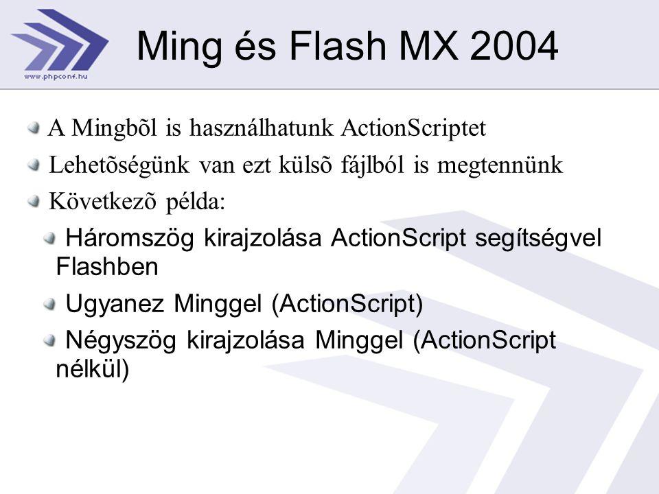 Ming és Flash MX 2004 A Mingbõl is használhatunk ActionScriptet Lehetõségünk van ezt külsõ fájlból is megtennünk Következõ példa: Háromszög kirajzolása ActionScript segítségvel Flashben Ugyanez Minggel (ActionScript) Négyszög kirajzolása Minggel (ActionScript nélkül)
