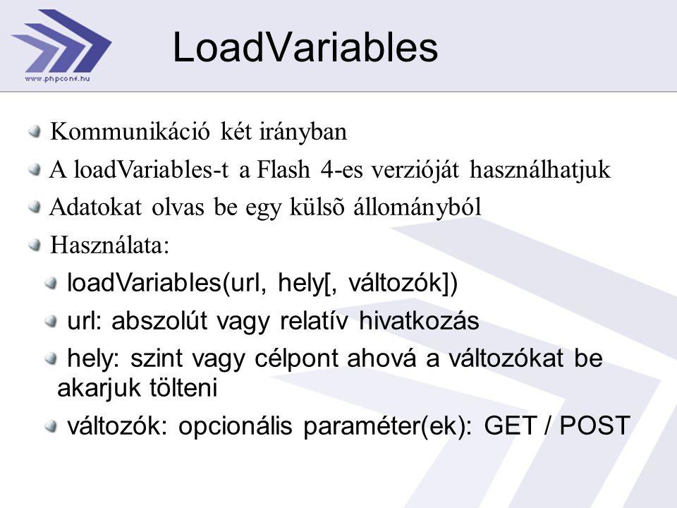 LoadVariables Kommunikáció két irányban A loadVariables-t a Flash 4-es verzióját használhatjuk Adatokat olvas be egy külsõ állományból Használata: loadVariables(url, hely[, változók]) url: abszolút vagy relatív hivatkozás hely: szint vagy célpont ahová a változókat be akarjuk tölteni változók: opcionális paraméter(ek): GET / POST