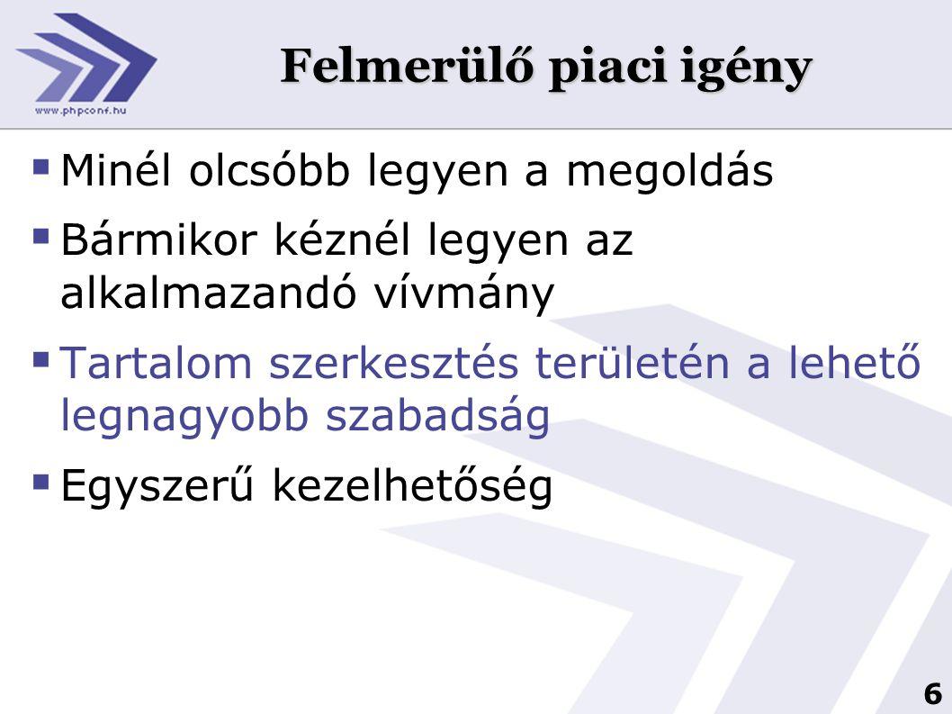 7 PHP megoldások a levélküldésre  mail() saját forráskódban /nagy mennyiségű levél kiküldésére nem alkalmas)  különböző levelezési osztályok alkalmazása (timeout probléma)  levelezési listák alkalmazása (nem alkalmas e-mail marketingre, illetve nem használható a dinamikus tartalom) Akkor mi a megoldás?