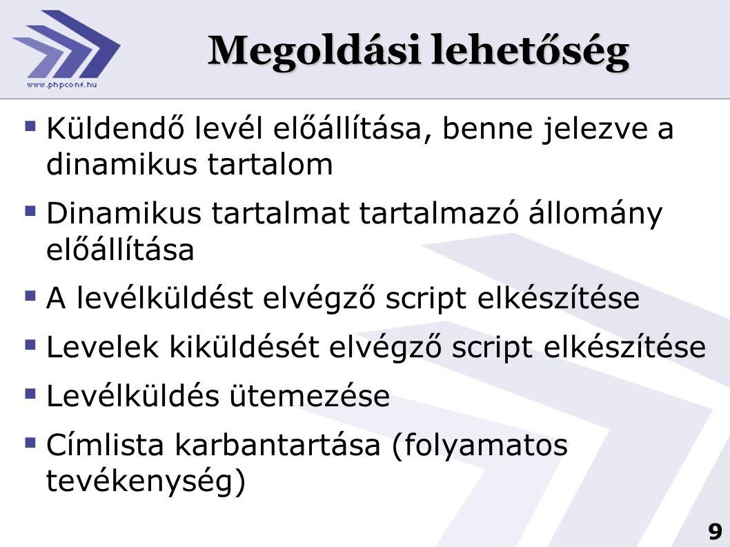 10 Küldendő levél elkészítése  Sablonok használata javasolt, tartalomtól függően  Belső tartalom elkészítésre a lehető legnagyobb szabadság biztosítása (WYSIWYG)  Szükséges mentések elkészítése (levél tartalma, dinamikus tartalom, ütemezési feladat, esetlegesen weboldalon található archívum)  Linkek kezelése