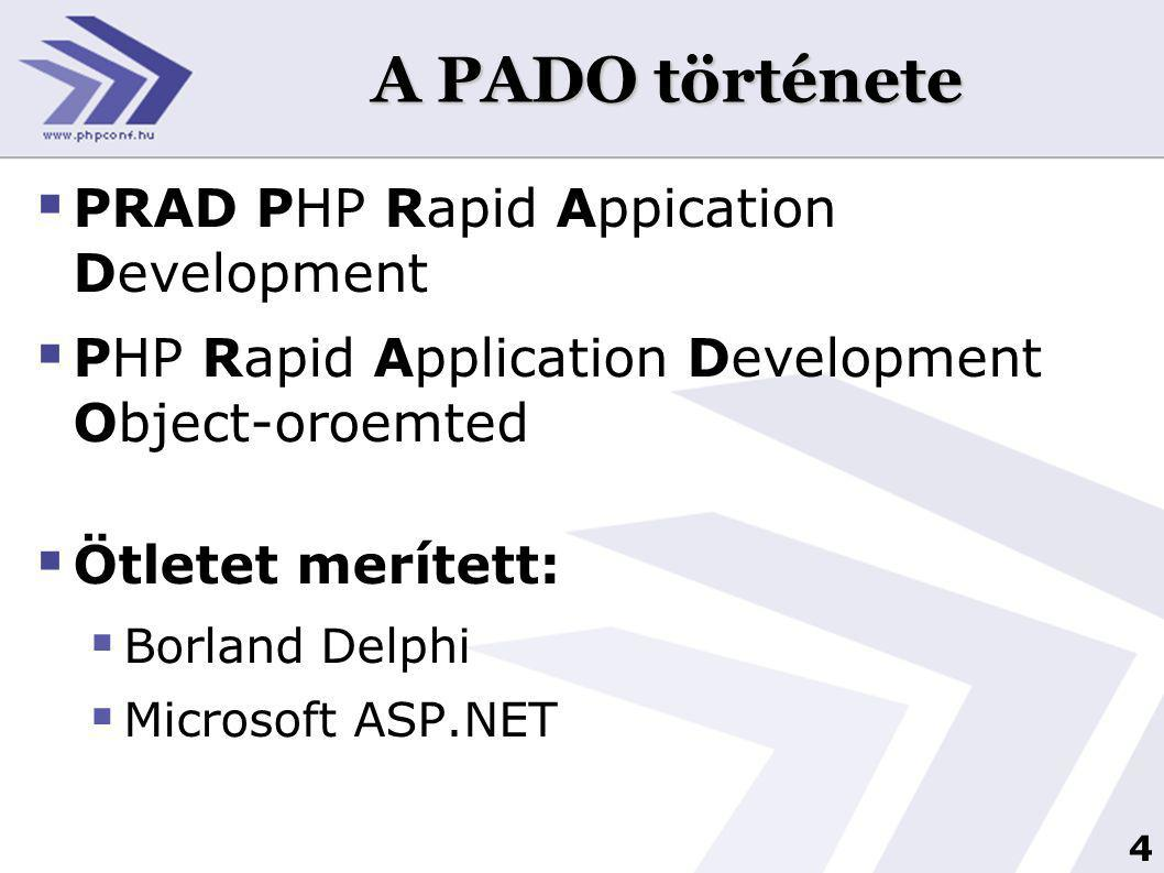 4 A PADO története  PRAD PHP Rapid Appication Development  PHP Rapid Application Development Object-oroemted  Ötletet merített:  Borland Delphi  Microsoft ASP.NET