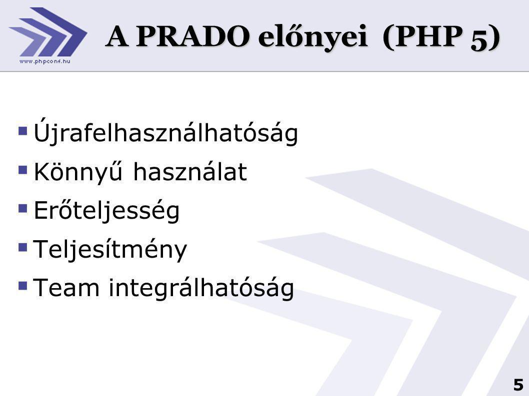 5 A PRADO előnyei (PHP 5)  Újrafelhasználhatóság  Könnyű használat  Erőteljesség  Teljesítmény  Team integrálhatóság