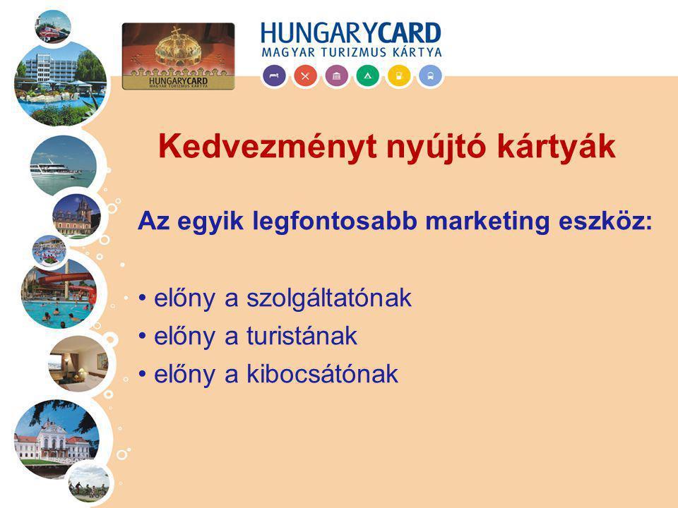 Az egyik legfontosabb marketing eszköz: előny a szolgáltatónak előny a turistának előny a kibocsátónak Kedvezményt nyújtó kártyák