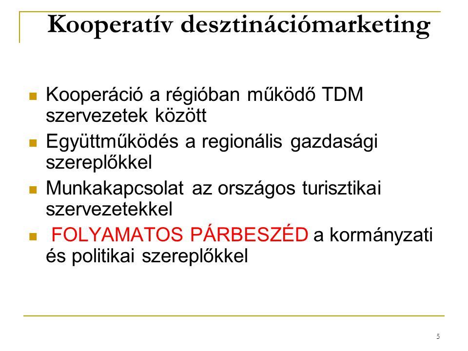 5 Kooperatív desztinációmarketing Kooperáció a régióban működő TDM szervezetek között Együttműködés a regionális gazdasági szereplőkkel Munkakapcsolat