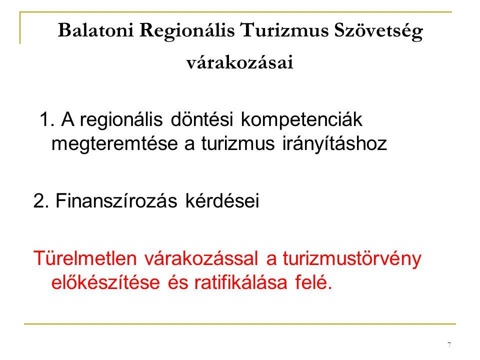 7 Balatoni Regionális Turizmus Szövetség várakozásai 1. A regionális döntési kompetenciák megteremtése a turizmus irányításhoz 2. Finanszírozás kérdés