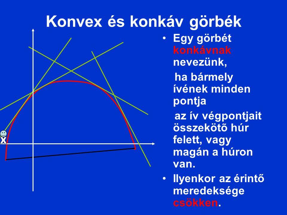 Konvex és konkáv görbék Egy görbét konkávnak nevezünk, ha bármely ívének minden pontja az ív végpontjait összekötõ húr felett, vagy magán a húron van.