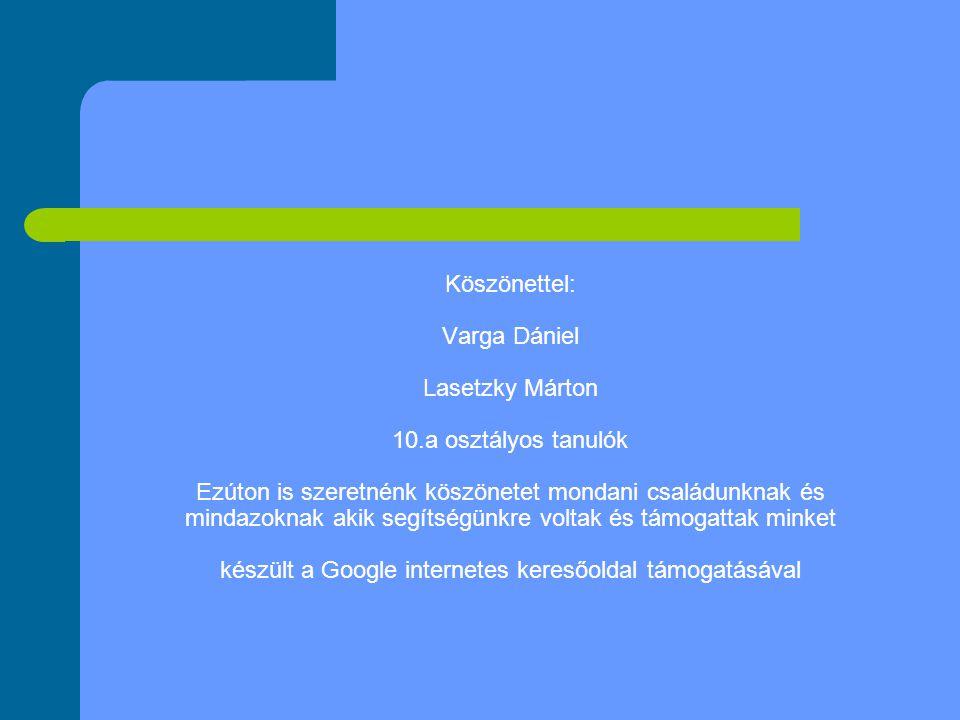 Köszönettel: Varga Dániel Lasetzky Márton 10.a osztályos tanulók Ezúton is szeretnénk köszönetet mondani családunknak és mindazoknak akik segítségünkre voltak és támogattak minket készült a Google internetes keresőoldal támogatásával