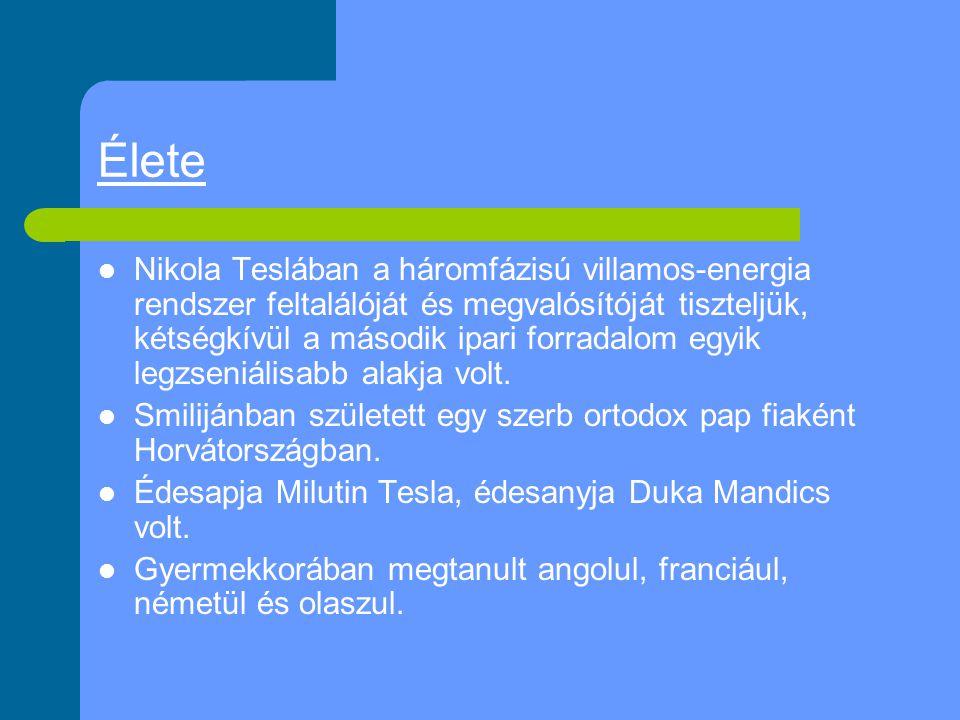 Élete Nikola Teslában a háromfázisú villamos-energia rendszer feltalálóját és megvalósítóját tiszteljük, kétségkívül a második ipari forradalom egyik legzseniálisabb alakja volt.