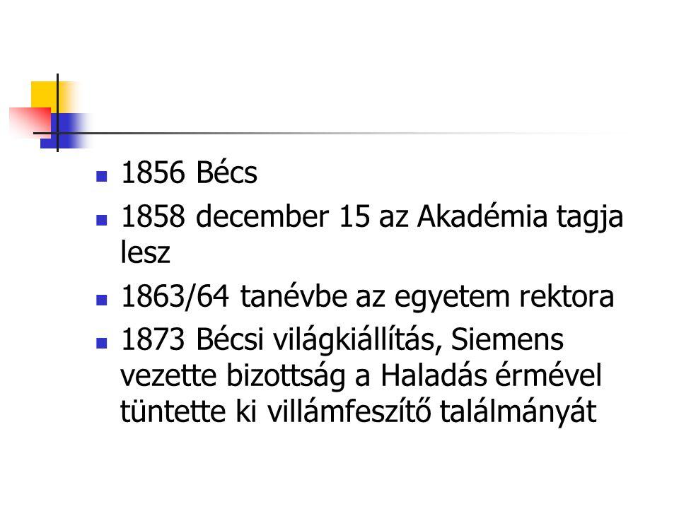 1856 Bécs 1858 december 15 az Akadémia tagja lesz 1863/64 tanévbe az egyetem rektora 1873 Bécsi világkiállítás, Siemens vezette bizottság a Haladás érmével tüntette ki villámfeszítő találmányát