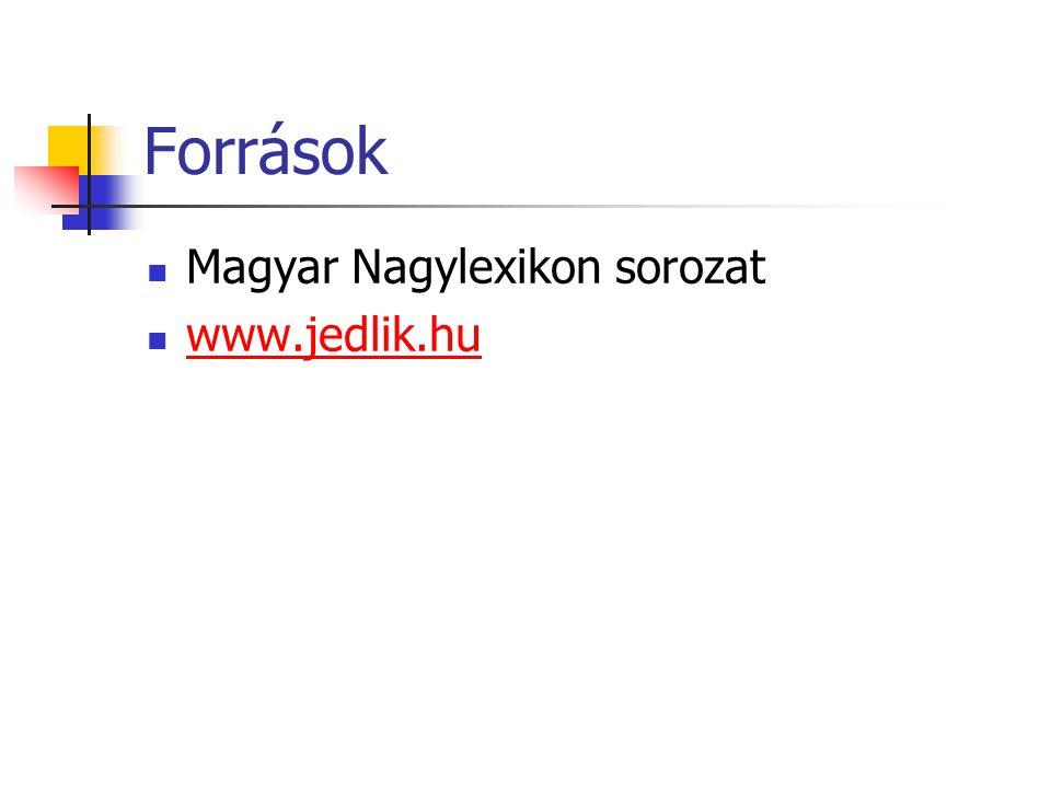 Források Magyar Nagylexikon sorozat www.jedlik.hu