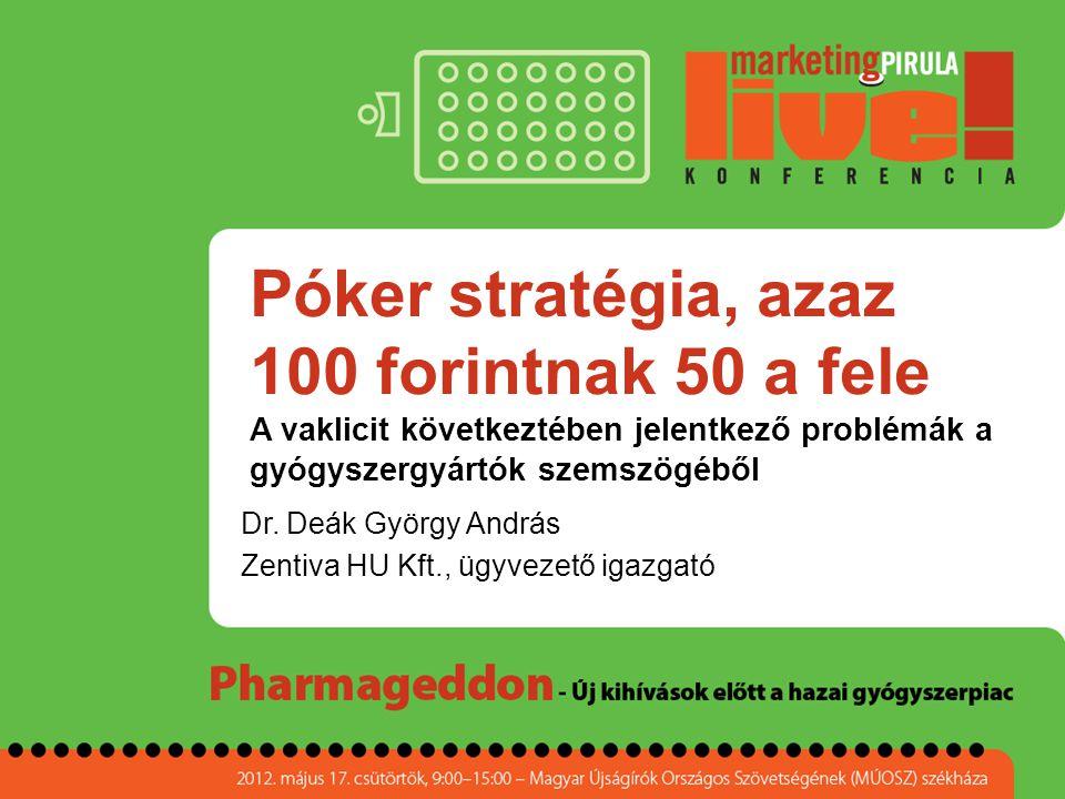 Póker stratégia, azaz 100 forintnak 50 a fele A vaklicit következtében jelentkező problémák a gyógyszergyártók szemszögéből Dr. Deák György András Zen