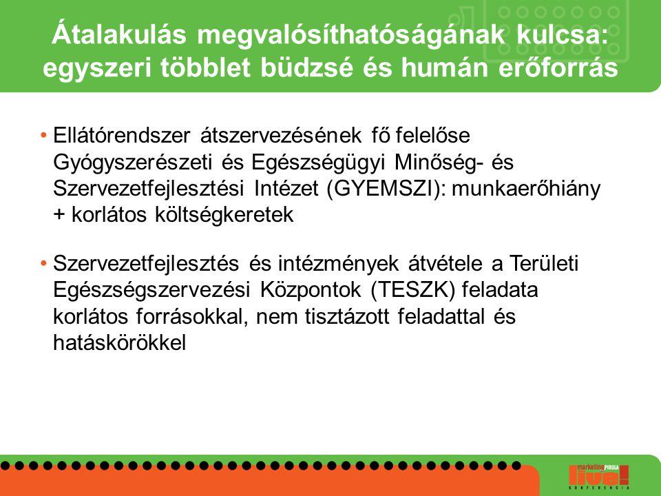 Ellátórendszer átszervezésének fő felelőse Gyógyszerészeti és Egészségügyi Minőség- és Szervezetfejlesztési Intézet (GYEMSZI): munkaerőhiány + korláto