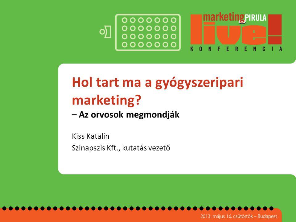 Hol tart ma a gyógyszeripari marketing? – Az orvosok megmondják Kiss Katalin Szinapszis Kft., kutatás vezető