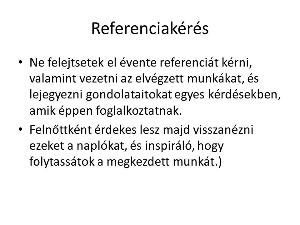 Referenciakérés Ne felejtsetek el évente referenciát kérni, valamint vezetni az elvégzett munkákat, és lejegyezni gondolataitokat egyes kérdésekben, amik éppen foglalkoztatnak.