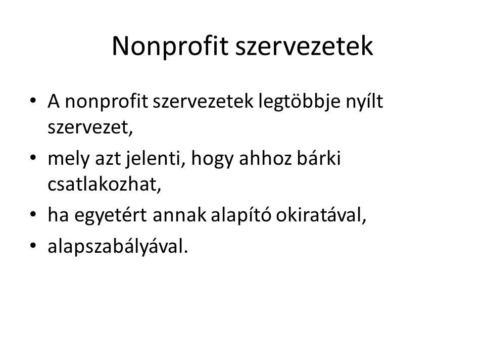 Nonprofit szervezetek A nonprofit szervezetek legtöbbje nyílt szervezet, mely azt jelenti, hogy ahhoz bárki csatlakozhat, ha egyetért annak alapító okiratával, alapszabályával.