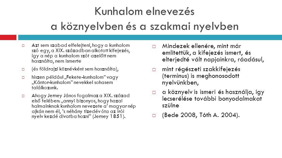 Kunhalom elnevezés a köznyelvben és a szakmai nyelvben  Azt sem szabad elfelejteni, hogy a kunhalom szó egy, a XIX. században alkotott kifejezés, így