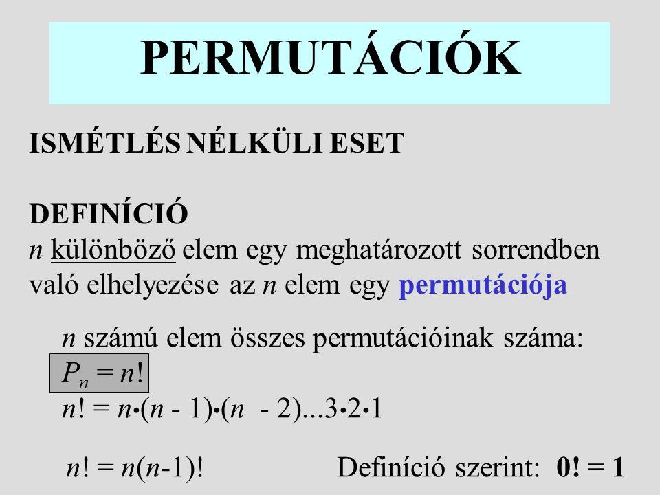 2 Példa: Az 1,2,3 számjegyekből alkotható 3-jegyű számok 1 2 3 2 3 1 3 1 2 3 1 2 1 3 321 = 3.
