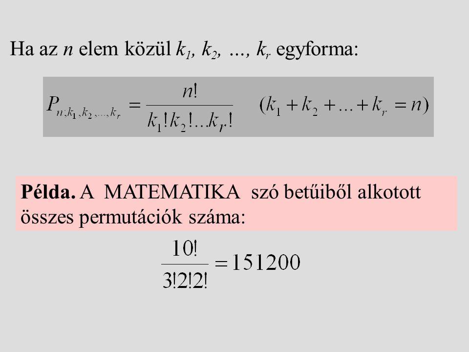 Ha az n elem közül k 1, k 2, …, k r egyforma: Példa. A MATEMATIKA szó betűiből alkotott összes permutációk száma: