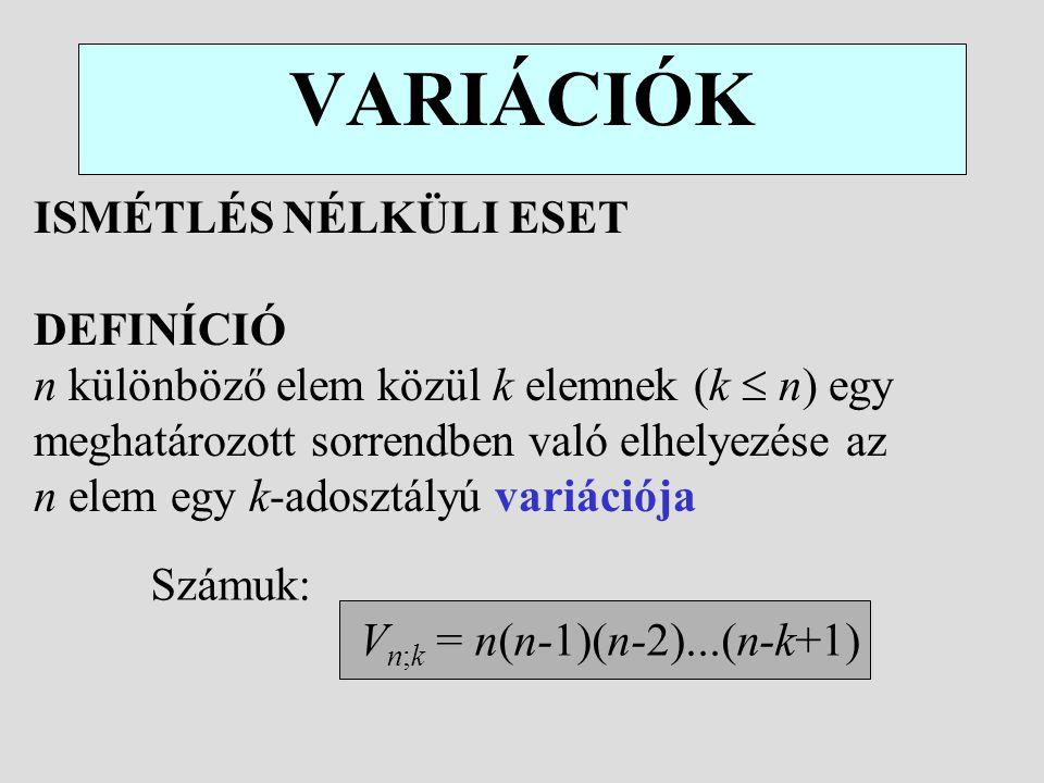 VARIÁCIÓK ISMÉTLÉS NÉLKÜLI ESET DEFINÍCIÓ n különböző elem közül k elemnek (k  n) egy meghatározott sorrendben való elhelyezése az n elem egy k-adosz