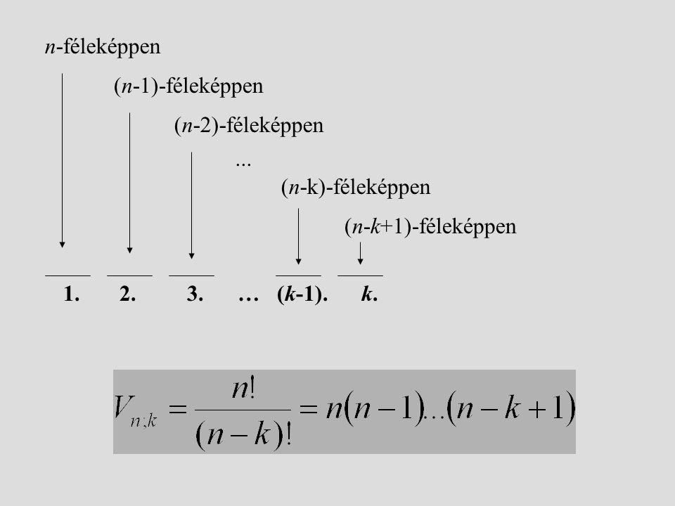 1. 2. 3. … (k-1). k. (n-1)-féleképpen n-féleképpen (n-2)-féleképpen (n-k)-féleképpen (n-k+1)-féleképpen...