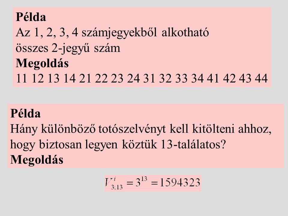 Példa Az 1, 2, 3, 4 számjegyekből alkotható összes 2-jegyű szám Megoldás 11 12 13 14 21 22 23 24 31 32 33 34 41 42 43 44 Példa Hány különböző totószel