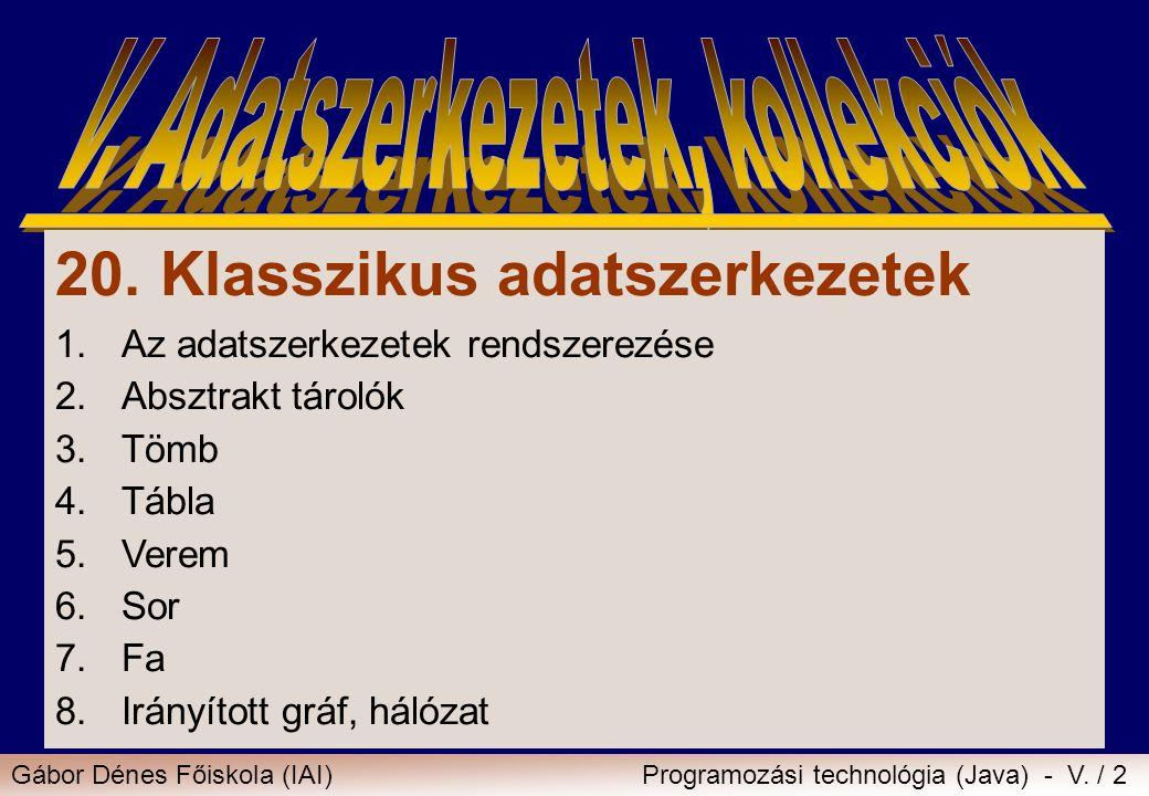 Gábor Dénes Főiskola (IAI)Programozási technológia (Java) - V. / 2 20. Klasszikus adatszerkezetek 1.Az adatszerkezetek rendszerezése 2.Absztrakt tárol